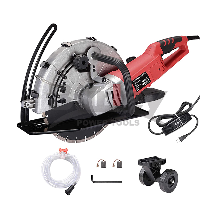 "2600W Electric 14"" Disc Cutter Circular Saw Concrete Saw Power Angle Cutter Wet/Dry Circular Blade w/Guide Roller-KX355D"